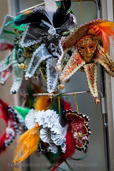 Mini-souvenirs: Mardi Gras masks.