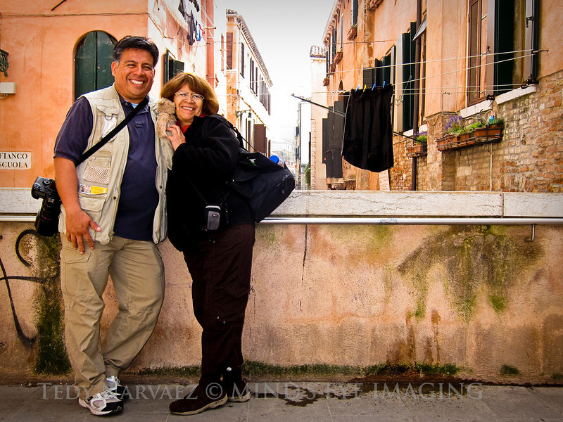 Last Day in Venice... Self timer on the compact camera. Mom's snuggling up to Romeo!