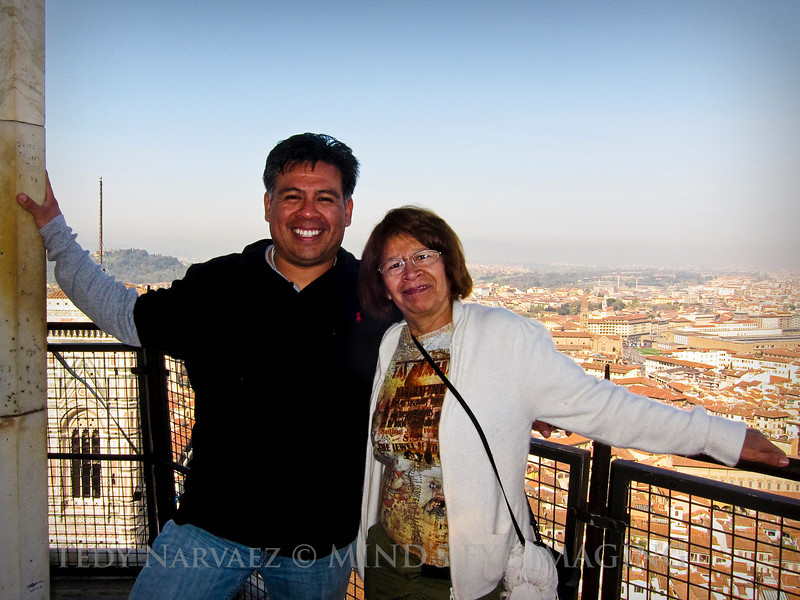 Mom & I with Florence in the background.