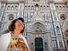Mom obliging me with a pose at Florence's Basilica di Santa Maria del Fiore.