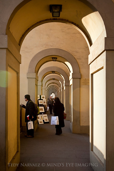 Arches leading up to the Ponte Vecchio in Florence.