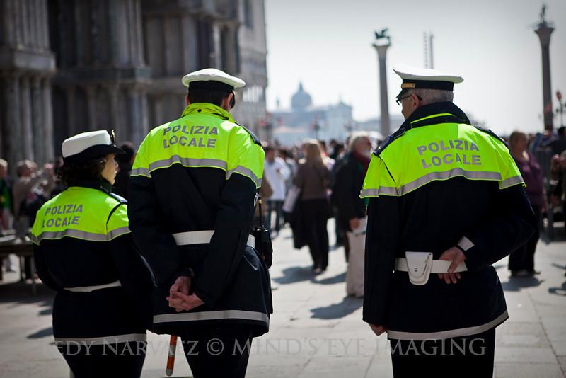 Artsy pic of the Venetian police in St. Mark's Square.