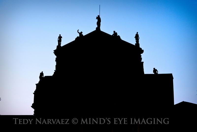 Silhouette of the Santa Maria di Nazareth (church), near the Santa Lucia Station in Venice.