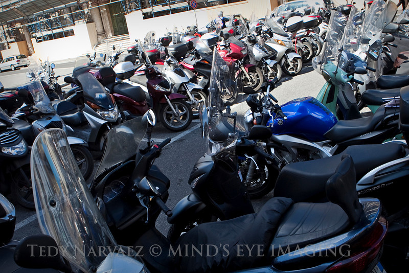 These motorbike parking lots were all over Rome.