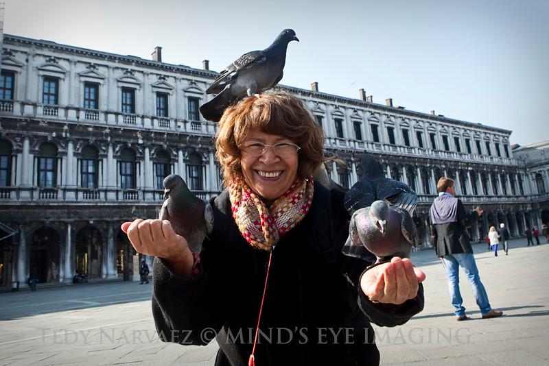 Mom was afraid the pigeons would poop on her...ha!