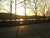 Sunset across the river, right outside the Roche Mannheim Main Gate