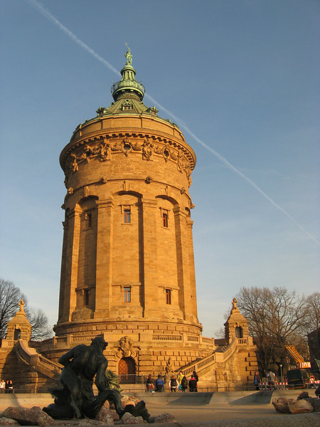 Water Tower Right outside hotel, with statues, fountain and park space