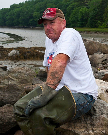 "This Maine fisherman has just finished a day of clamming on the Back River in Friendship, ME.  He fishes for lobsters 3 days a week and on his ""off days, he digs for clams."