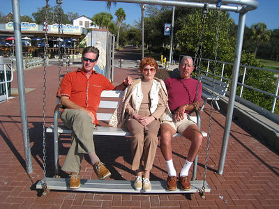 We've all looked better, but it's Dad and 2nd mom, Elaine on a really cool swing that you drive with the foot rest.  This is in Gulfport near to where they live and where Solsurfin is anchored.