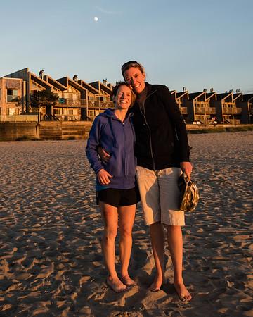 Anna and Mariah at Cannon Beach at sunset.