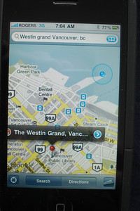 I get reception again and the iPhone tells us where we are, compared to our Hotel, the Westin Grand.