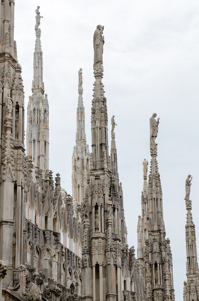 Milano, Italy. Duomo di Milano. From the rooftop of the Duomo.  Dedicated to St Mary of the Nativity, it is the seat of the Archbishop of Milan, currently Cardinal Angelo Scola. The Gothic cathedral took nearly six centuries to complete
