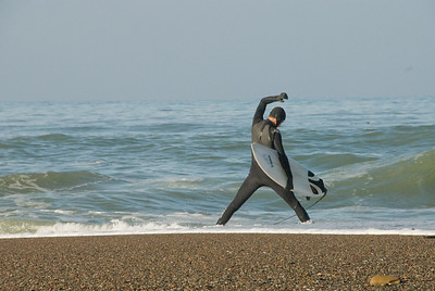 San Simeon Park, surfer preparing to launch