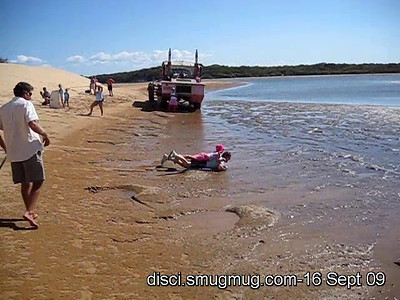 Short video (12s): Dune surfing on the west-facing dunes overlooking Jenny Lind Creek, just south of Bustard Head & the headland section of Eurimbula National Park; 16 September 2009.