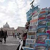 This Tuesday, March 22, 2011 photo shows guide books to Rome in different languages displayed in front of St. Peter's Square, at Vatican City in Rome. The Vatican travel agency for pilgrimages said prices on rooms might tumble in the coming weeks because predictions of upward of 1 million people pouring into the city for Pope John Paul II's beatification ceremony could scare off potential hotel guests.    (AP Photo/Gregorio Borgia)