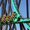 This undated photo courtesy of Six Flags Great Adventure shows the Green Lantern stand-Up coaster at Six Flags Great Adventure in Jackson, N.J. The Green Lantern is a 15-story stand-up coaster that begins with a 45-mph vertical drop before rocketing riders through five inversions, including loops and corkscrews.  (AP Photo/Six Flags Great Adventure)