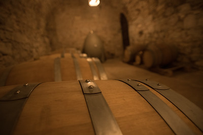 The cellar in the castle of the Oller del Mas organic winery. Catalonia Spain. Photo by Weldon Weaver. June 2019.