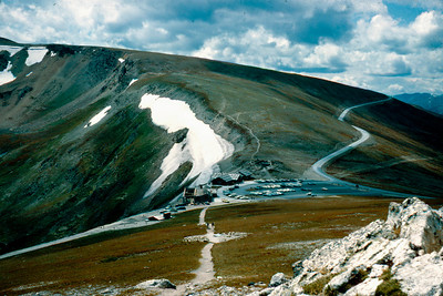 1965-09 - Rocky Mountain lodge from top of path though the tundra