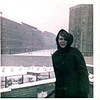 Jan 1968 West Berlin Germany, Barb standing on an observation tower in the French Sector of West Berlin. That's East Berlin on the other side of the old wall (with barbed wife), assorted other barriers ad new wall (plain). Commies are going after a new image with the new nicer looking wall. HA!!!