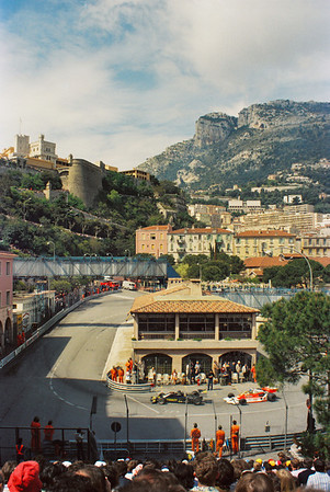 View of La Rascasse during practice for the Monaco F1 Grand Prix May 6th, 1978 the Grimaldi Palace is in the background along with the start of Anthony Noghes corner.