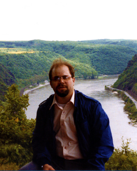 Tom at the Lorelei. The Lorelei is a rock on the eastern bank of the Rhine near St. Goarshausen, Germany, which soars some 370 feet above the waterline. It marks the narrowest part of the river which runs from Switzerland to the North Sea.