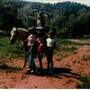 Petting the park rangers horse at Garden of the Gods.
