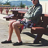 Hearst Castle - Jeff waiting for bus