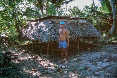Pete visits a village in Fiji, 1989.