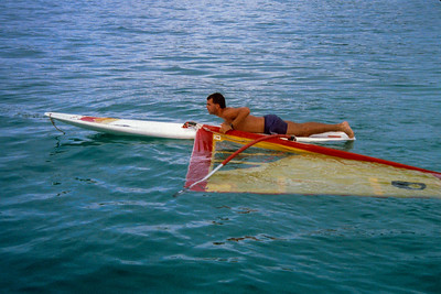 Fiji 1989. Pete tries windsurfing.