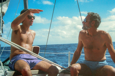 Fiji 1989. Pete talks with Warwick, captain of the Seax Allegra.