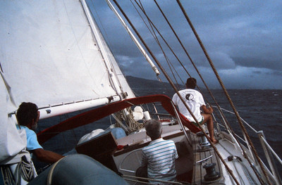 Jack Kotz sailing in Fiji 1989 - with Peter Kotz on the bow.