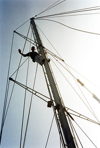 Checking the mast before heading back to the mainland.