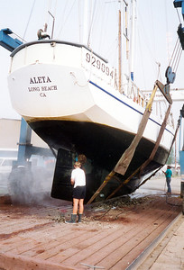 Cleaning the boat at Port Angeles