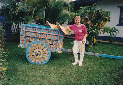 At Sarchi, where decorative hand-painted oxcarts, trays, etc. are made and sold