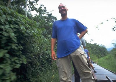Riding on the train's roof Bucay to Rio Bamba Ecuador