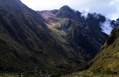 The other side of the 4200m pass, second camp below Inca Trail, Peru