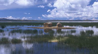 A floating island on Lake Titicaca near Puno, Peru