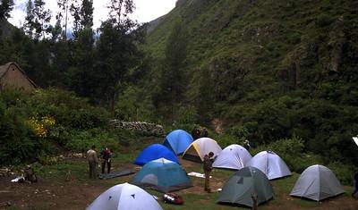 First nights camp Inca Trail, Peru