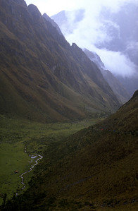 Climbing over the 4200m pass Inca Trail, Peru