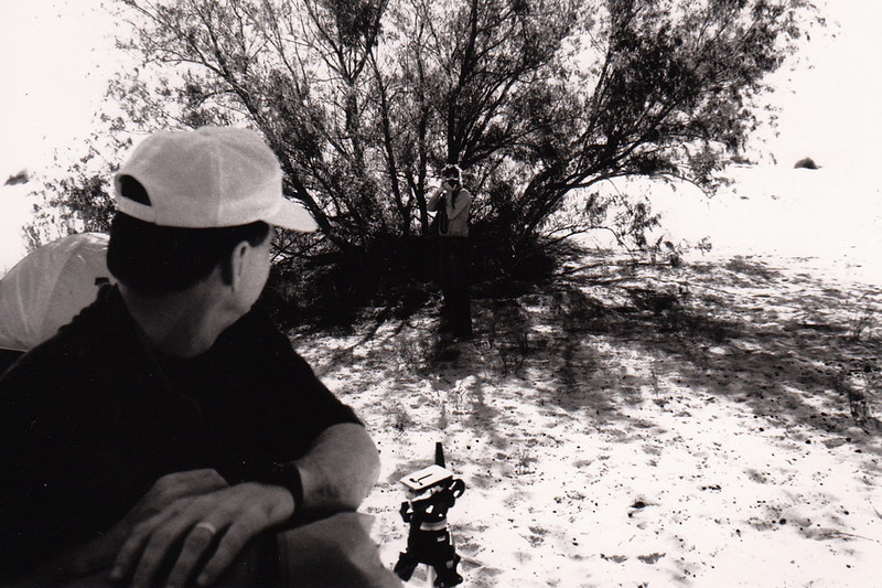 AT MONAHANS SANDHILLS<br /> Rick hides out in the shade of a tree to record our first stopover.