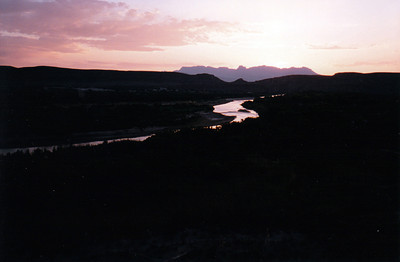 RIO GRANDE RIVER AND CHISOS MOUNTAINS AT SUNSET This is taken from the Rio Grande Overlook viewpoint on the nature trail in Rio Grande Village Campground.