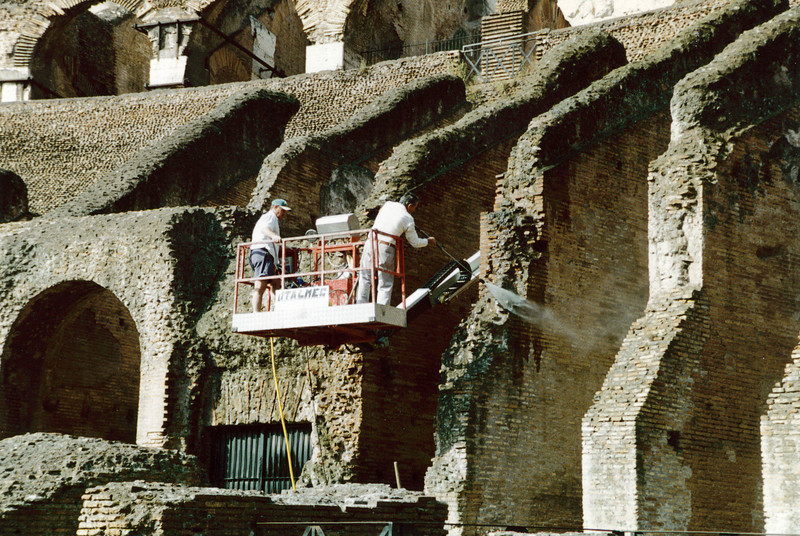 Rome: Cleaning the Colosseum.
