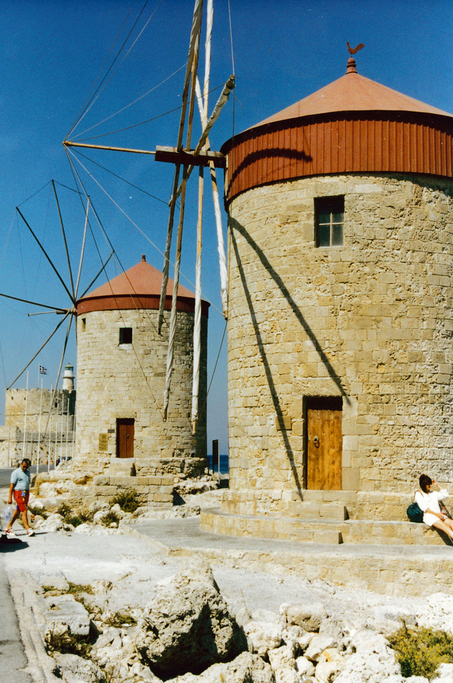Greece: Windmills on the Island of Rhodes.