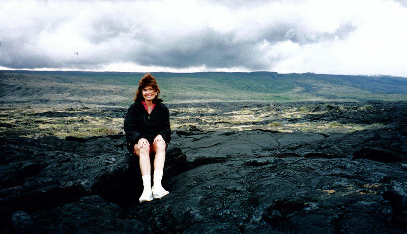 Big Island of Hawaii: Judith (or is that really Jackie) sitting on lava rock.