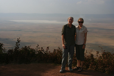 Overlook at Ngorongoro Crater: It looks barren, like there wouldn't be any animals in the crater.  We were surprised to see hundreds of animals there!
