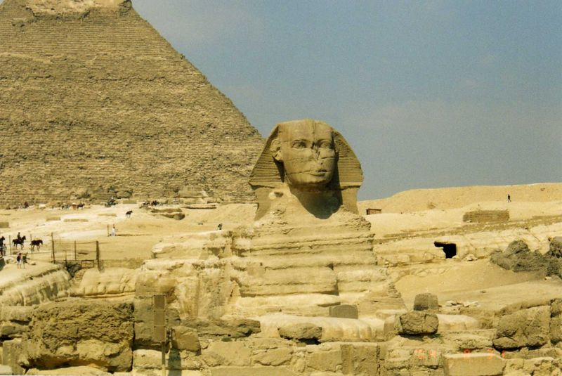 Sphinx Guarding Khafre Pyramid--<br /> About 2500 B.C.