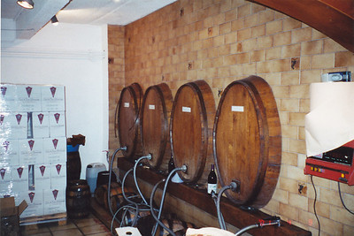 Kegs of bulk table wine--hoses to fill your own containers