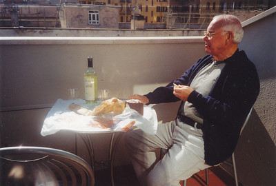 First day in Rome.  Harvey enjoying the sun and lunch on our veranda at Hotel Nova Domus.