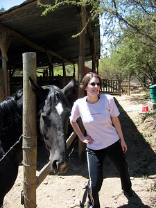 Lisa and horse at house