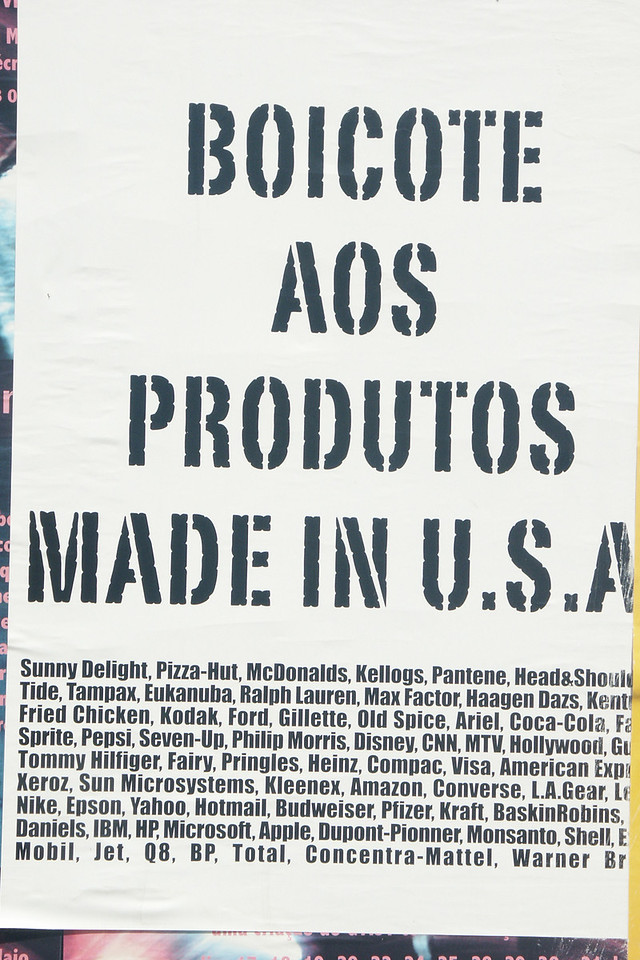 Poster at university calling for a boycott of US made products.